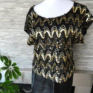 3/$20 vintage sequin gold black blouse top